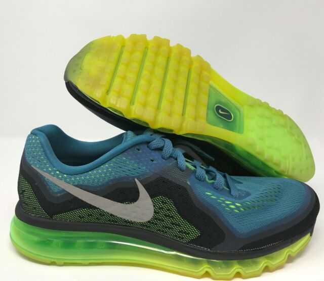 Nike Air Max 2014 Running Shoes Mens 11 Rift Blue Silver Flash Lime 621077 403