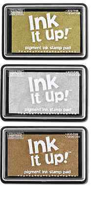 Stamp Pads LOT OF 3 GOLD SILVER COPPER Metallics INK IT UP!