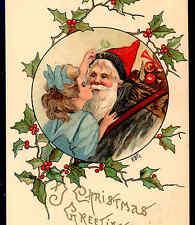 SCARCE..! HBG,BLACK ROBED FATHER CHRISTMAS,SANTA KISSED UNDER MISTLETOE POSTCARD