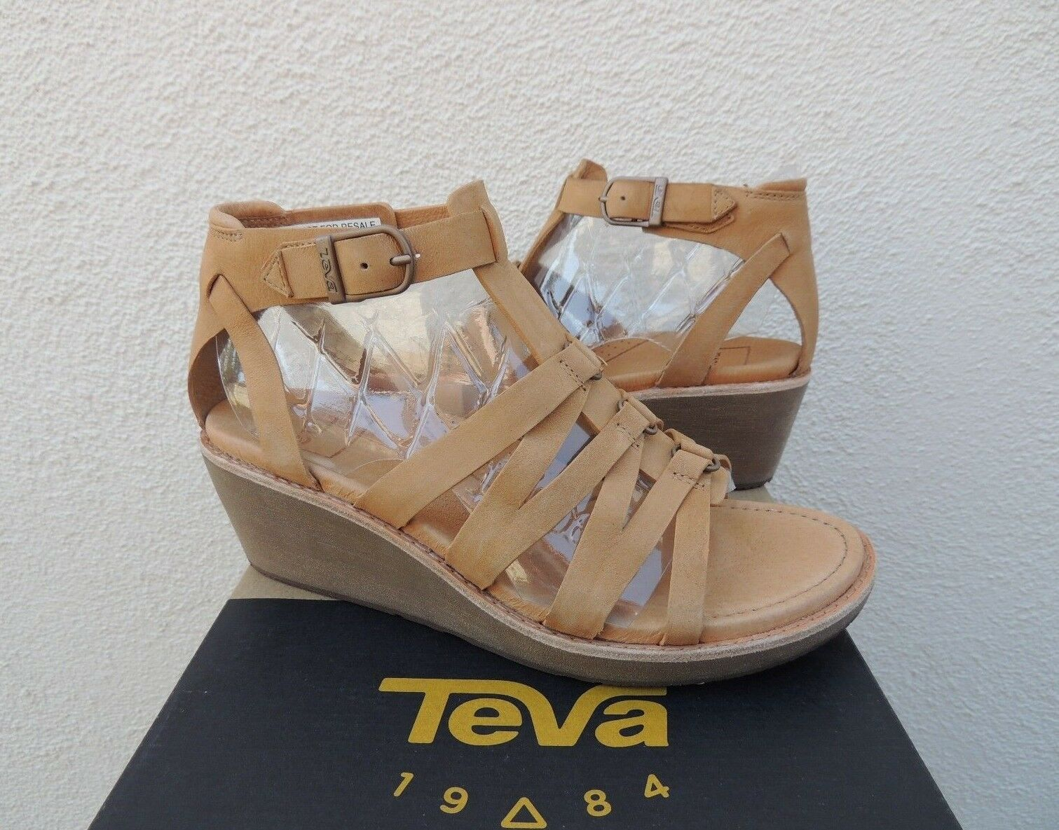 TEVA RARE ENCANTA TAN LEATHER LEATHER LEATHER GLADIATOR WEDGE SANDALS  HEELS, US 7  EUR 38  NEW 333893