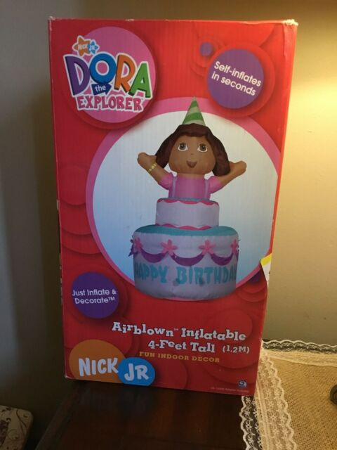 Awesome Gemmy Self Inflating Dora The Explorer On Happy Birthday Cake 4 Ft Personalised Birthday Cards Bromeletsinfo