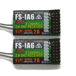 2x FS IA6 Flysky iA6 2.4G 6 CH RC Receiver W//Double Antenna Compatible i4 i6 i10