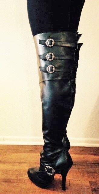 aquí tiene la última Negro Alto Alto Alto del muslo sobre la rodilla botas de becerro Steampunk Hebilla Ancho Mujer  saludable