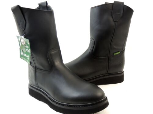 MEN/'S WORK BOOTS GENUINE LEATHER BLACK COLOR WESTERN BOOTS COWBOY PULL ON