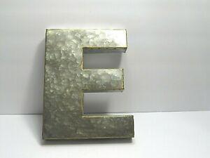 S N Galvanized Metal 3D Letters Wall Decor Rustic Farmhouse Letters F   EUC!