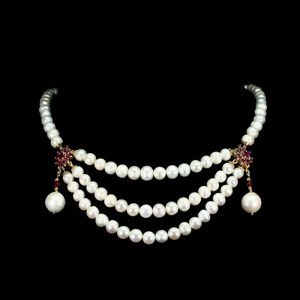 Heated-Marquise-Red-Ruby-5x2-5mm-Pearl-Gold-Plate-925-Sterling-Silver-Necklace