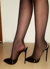 High Heels Stiletto Mules in Schwarz Lack mit 13 cm absatz in Gr. 37-38-39-40