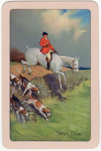 Playing Cards 1 Single Swap Card Old Vintage Hunting Horse Dogs Named WELL OVER