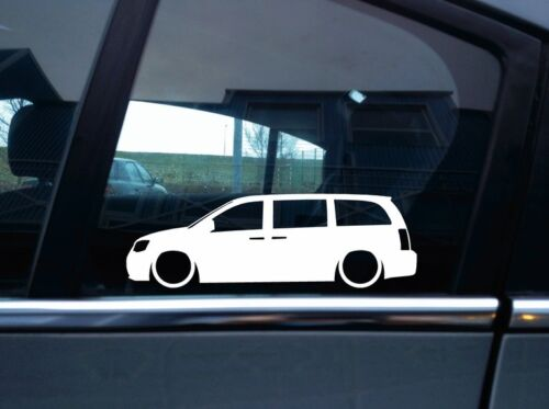 2008-2016 2x Lowered car outline stickers for Chrysler Town /& Country 5th gen