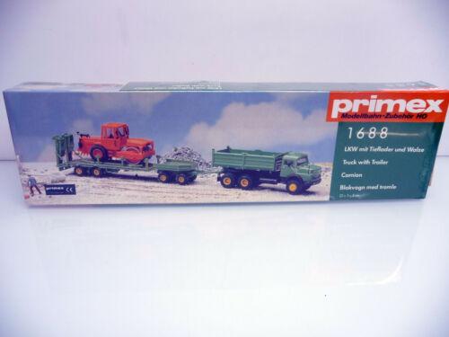 Bausatz Primex H0 1688 LKW mit Tieflader und Walze