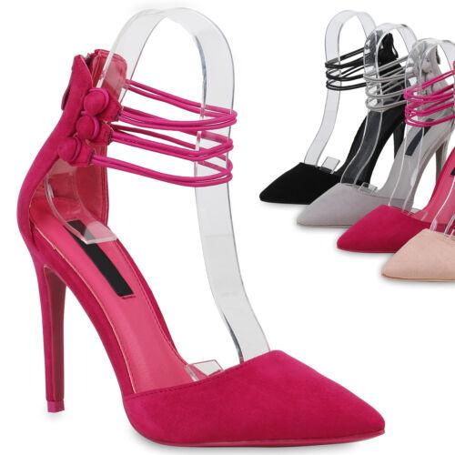 895233 Spitze Damen Pumps High Heels Party Wildleder-Optik Schuhe Trendy