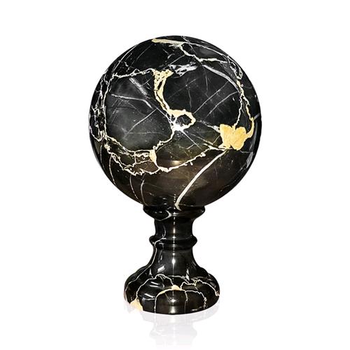 Sfera Scultura Marmo schwarz PortGold c Piede Italian Marble Sphere Sculpture D.12CM