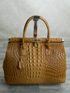 Trage-Hand-Damen-Tasche-Alligator-Stamp-Kelly-Tote-Bag-echt-Leder-Cognac-351CK
