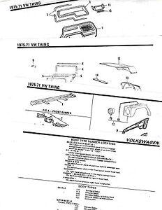 1971 1972 1973 1974 1975 VOLKSWAGEN VW THING BODY PARTS LIST CRASH SHEETS **