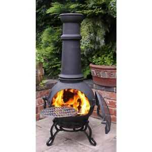 Garden Cast Iron Chimnea Chimenea Chiminea Patio Heater Fire Pit Charcoal Heater