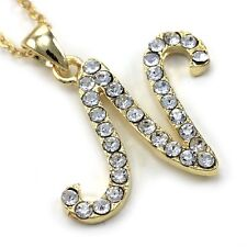 Initial Letter N Pendant Necklace High Polish Gold Tone Clear Charm Women Teen