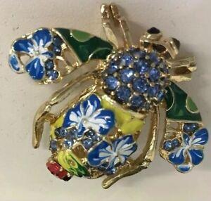 Joan-Rivers-Blue-Flowers-Green-Rhinestone-Eyes-Enamel-Bee-Lady-Bug-Pin-Signed
