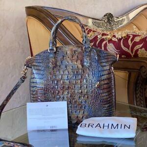 NWT-Brahmin-Large-Duxbury-Satchel-Cedar-Melbourne-Leather-Handbag-dustbag-card