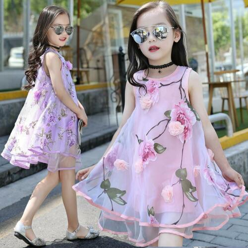 Girls Kids Summer Floral Dress Sleeveless Cotton Party Clothes 6-10 Years Old