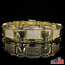Mens 14k Yellow Gold Plated Simulated Diamond Bracelet Hip Hop Iced Out Fashion