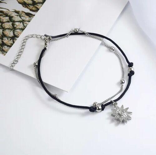 Women/'s anklet Sun black cord chain Cavigliera donna Sole cordino nero catena