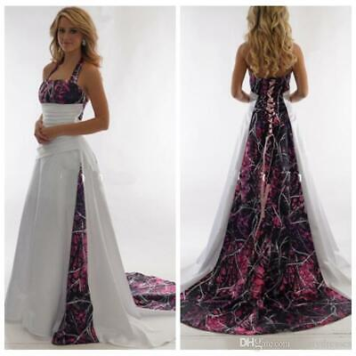 Halter Camo A-Line Muddy Girl Wedding Dresses Camouflage Plus Size Bridal  Gowns | eBay