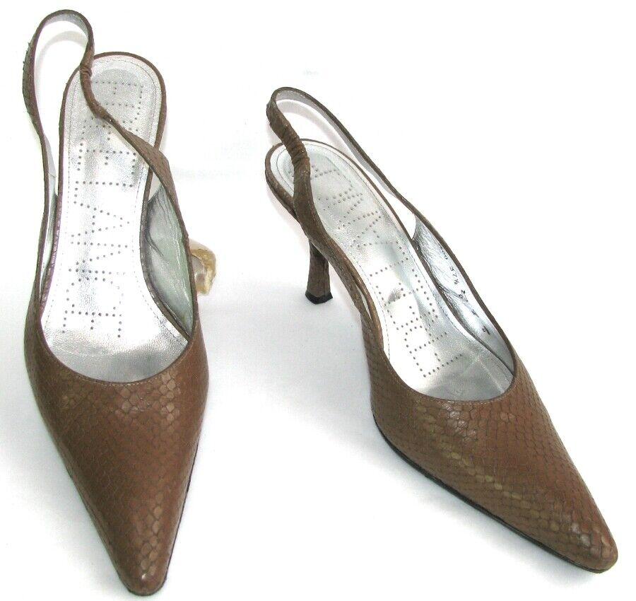 Free lance-sandals pumps zigly 7 sling brown leather 37.5 38 tres bon etat