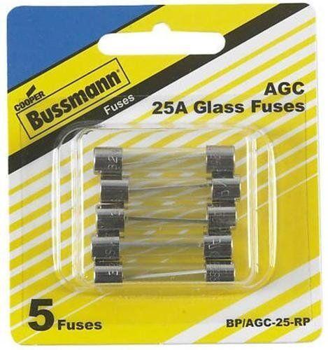 """5 Pack Bussmann BP//AGC-25-RP AGC Automotive Glass Fuse 1//4/"""" X 11//4/"""" 25 Amp"""