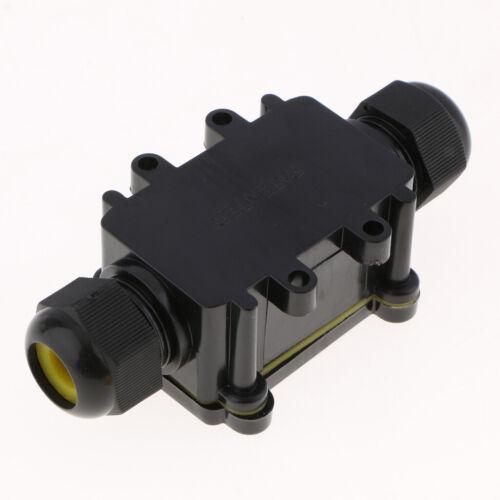 Waterproof Outdoor External 2 Way IP68 Electrical Junction Box Cable Black