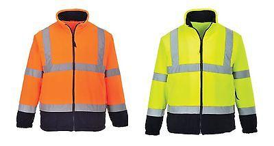 5XL F300 Portwest HI VIS Mesh Lined Safety Work Fleece Coat Jacket High Vis XS