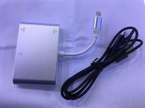 Lightning to Digital AV Multiport HDMI VGA Audio Adapter For iPhone 8 Plus