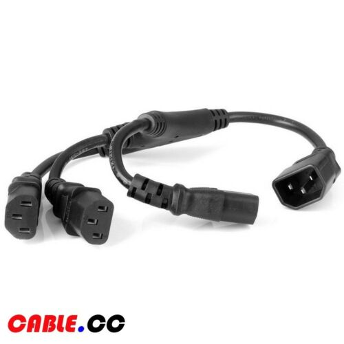 Cablecc IEC320 C14 Male to Three C13 Female Type Splitter Extension Power Cable