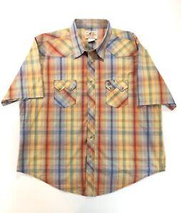 Wrangler-American-Cowboys-Mens-XXL-Snap-Up-Short-Sleeve-Shirt-Plaid