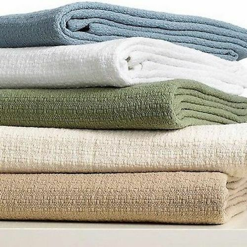 New Ralph Lauren Woven Textured Weave Taupe Twin Classic 100% Cotton Blanket