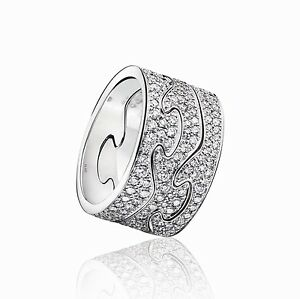 Georg Jensen 3piece Fusion Ring 18 kt White Gold with Pav
