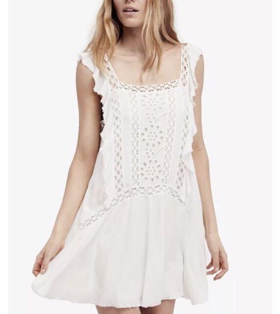 85fe613acf2 Free People FP One M Priscilla Ruffled Eyelet white Dress Tunic Mini New NWT