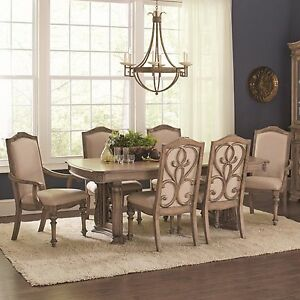 EXQUISITE ANTIQUE LINEN FORMAL DINING TABLE & CHAIRS DINING ROOM ...