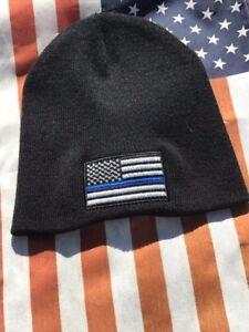 73220075729 Thin Blue Line Flag Support Cops Police Black Knit Skull Winter ...