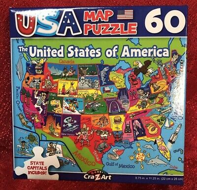 60pc PUZZLE UNITED STATES OF AMERICA MAP USA STATES THEME INCLUDED &  CAPITALS 639277641014 | eBay