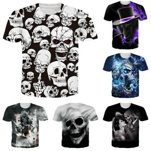 Skull-3D-Print-Mens-Womens-Casual-Short-Sleeve-Crew-Neck-T-Shirt-Graphic-Tee-Top