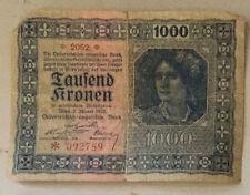 Austria (1000) TAUSEND Kronen 1922 banknote paper money