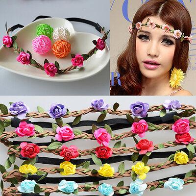 Haarband Boheme LEDER geflochten Blumen Haarreif Stirnband HIPPIE -17 Farben