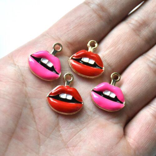 50X Enamel Red Mouth/&Lips Charm Pendant For DIY Earrings//Bracelet//Necklace Bulk