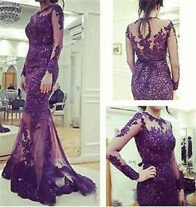 Purple Lace Dress with Sleeves