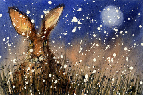 CHRISTMAS HARE PRINT present gift art from watercolour painting size A4 uk art