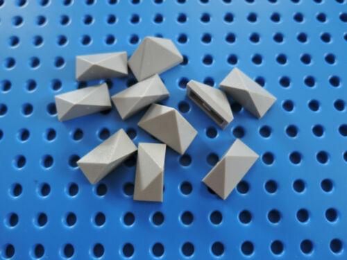 LEGO 10 X Dachstein Dachfirst pierre angulaire de 3048 1x2 45 ° neuf gris clair