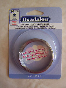 19.7 Foot Coil 20 Gauge Beadalon 316L Stainless Steel Wire