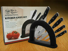 HEN & ROOSTER AND 6 Piece Black Synthetic Kitchen Cutlery Knives Knife Set
