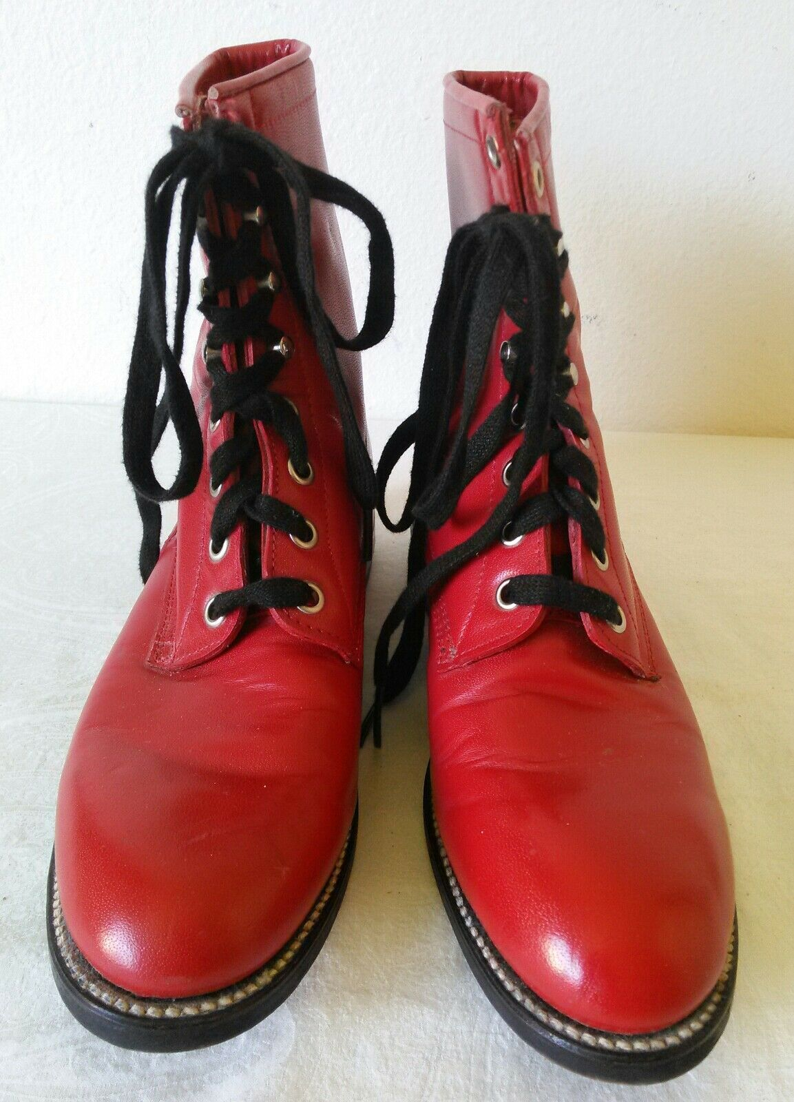 Gran Justin Rojo Laceup Leather Occidental Lady's Vaquera Roper Occidental Leather Botas B 6ff562