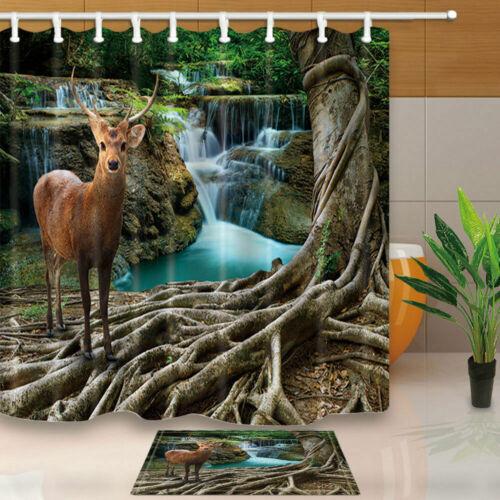 Deer Pattern Bathroom Waterproof Fabric Shower Curtain Rugs Bath Mat Set/&12 Hook